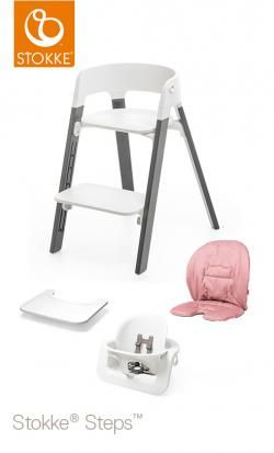 steps stokke storm gray beech cushion-tray-baby set online - Price: 346.00 €